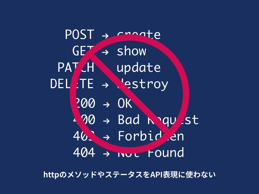 POST ! create GET ! show PATCH ! update DELETE ...