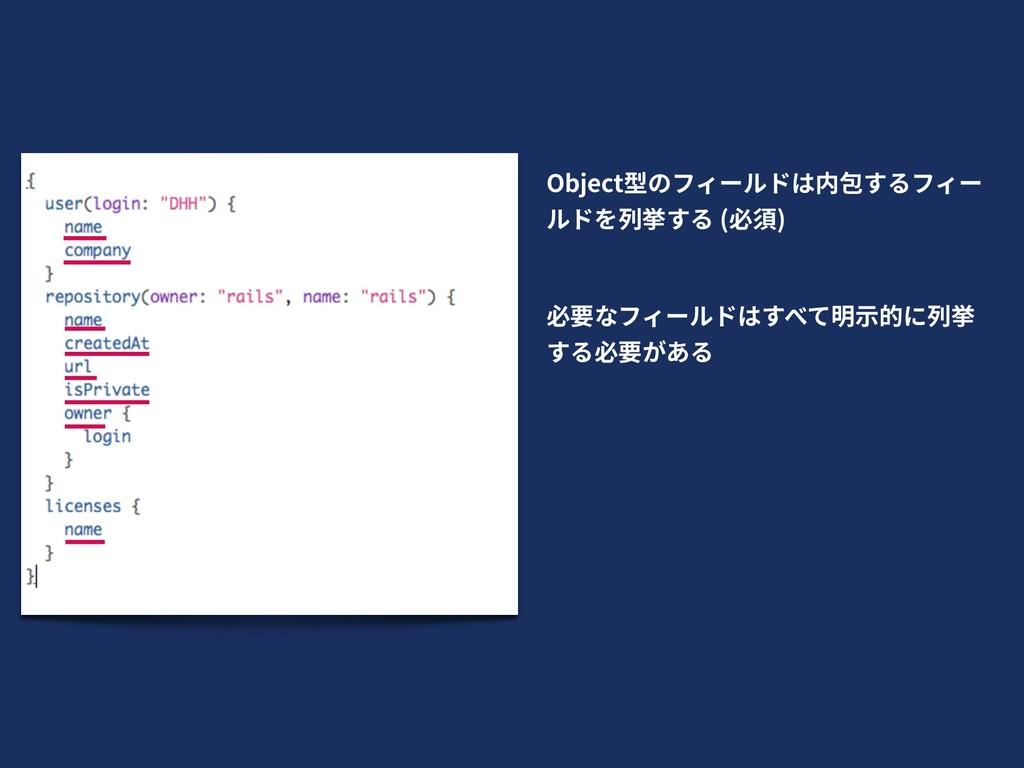 Object型のフィールドは内包するフィー ルドを列挙する (必須) 必要なフィールドはすべて...