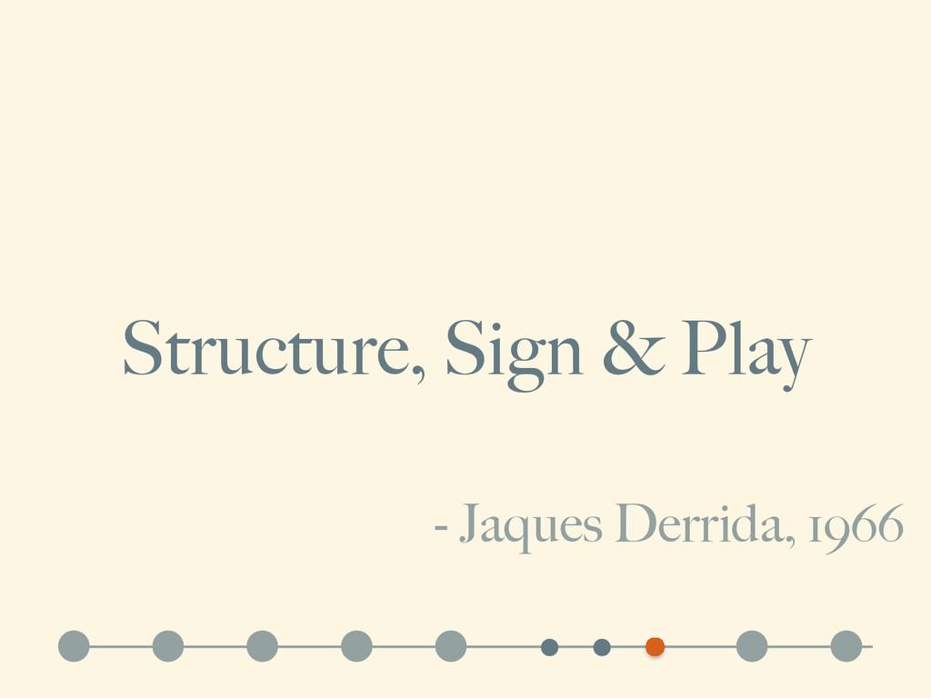 Structure, Sign & Play - Jaques Derrida, 1966