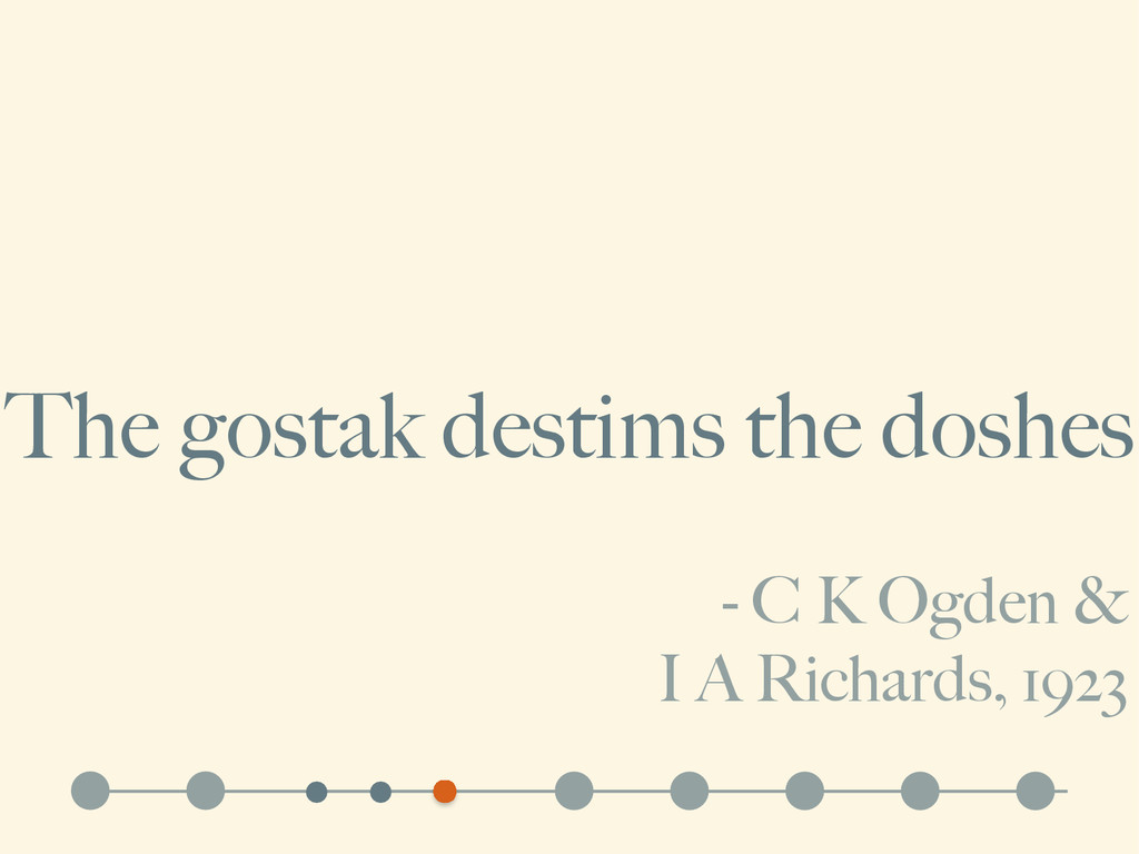- C K Ogden & I A Richards, 1923 The gostak des...