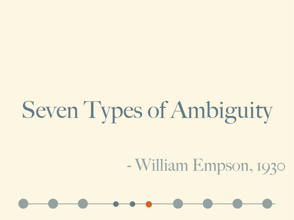 Seven Types of Ambiguity - William Empson, 1930
