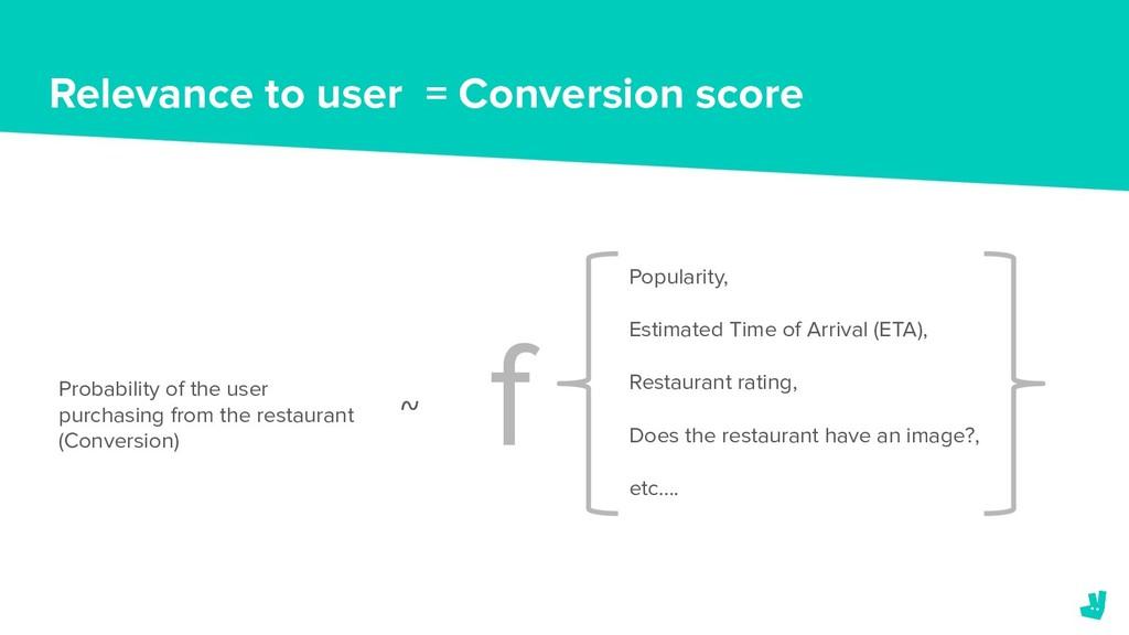 Relevance to user = Conversion score Probabilit...