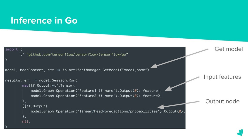 Inference in Go Get model Input features Output...