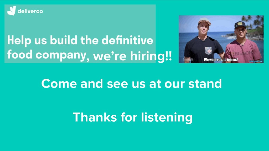 , we're hiring!! Come and see us at our stand T...