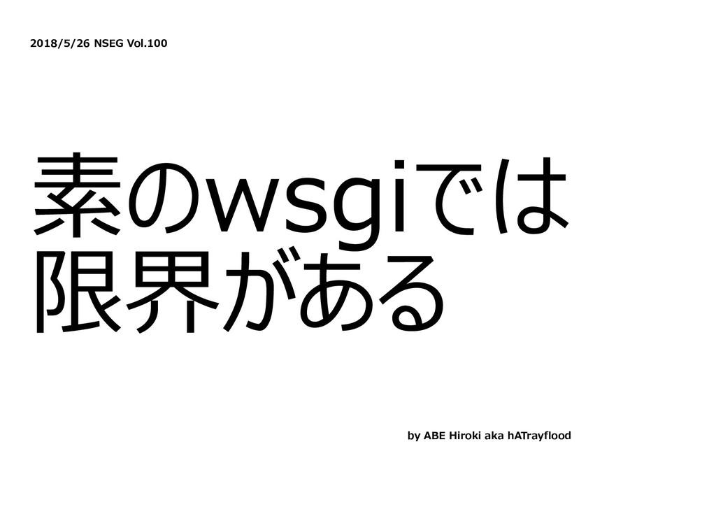 2018/5/26 NSEG Vol.100 素のwsgiでは 限界がある by ABE Hi...