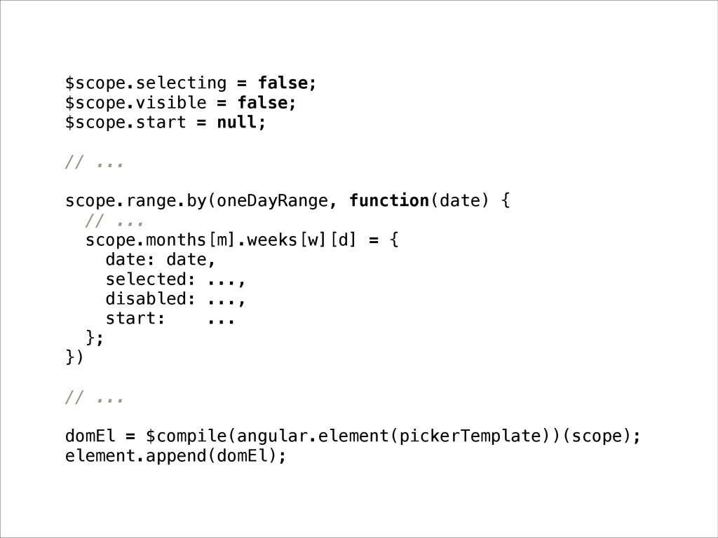 $scope.selecting = false; $scope.visible = fals...