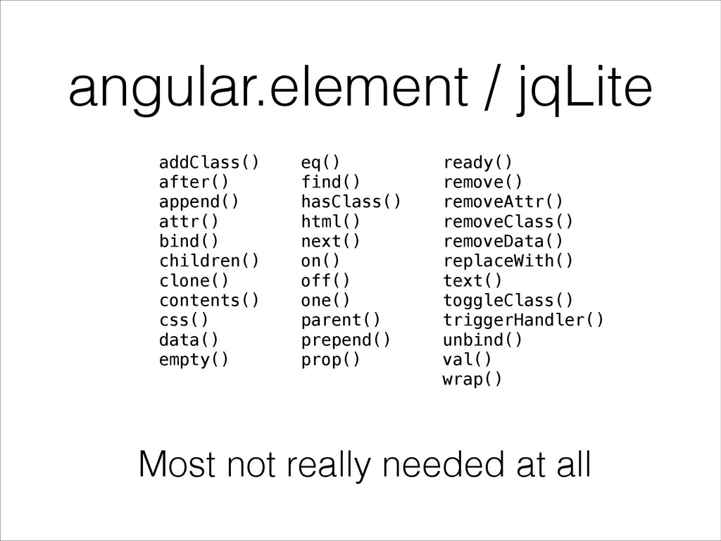 angular.element / jqLite addClass() after() app...