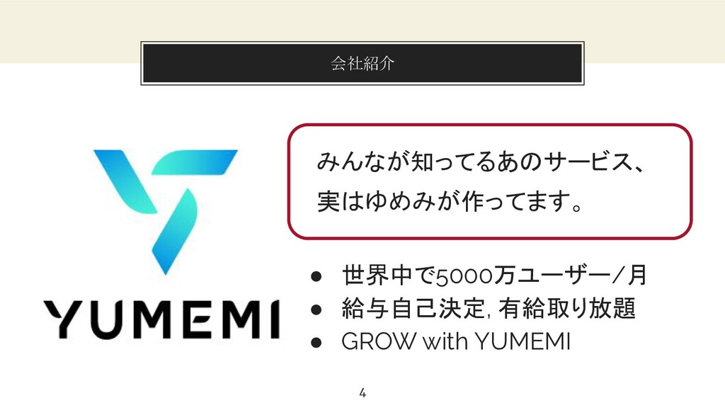 You can also split your content 会社紹介 4 ● 世界中で50...