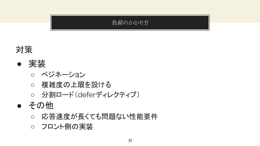 You can also split your content 負荷のかかり方 31 対策 ●...