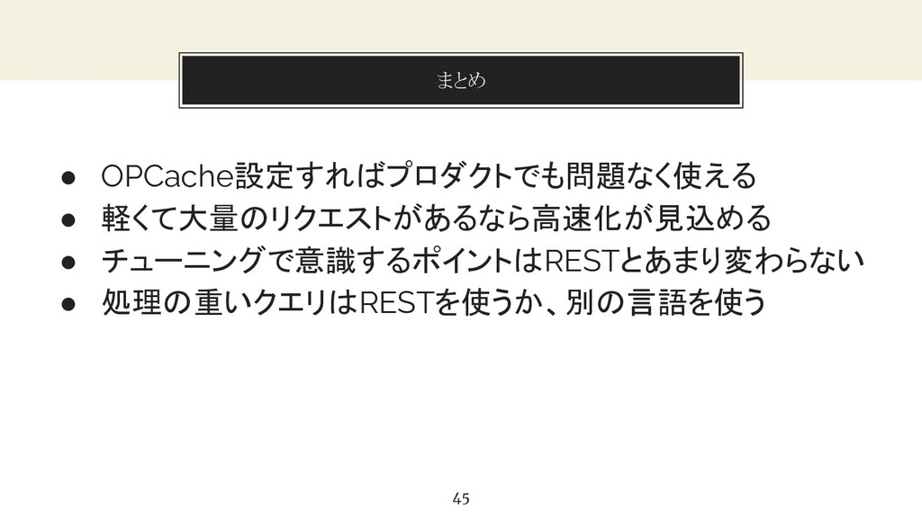 You can also split your content まとめ 45 ● OPCach...