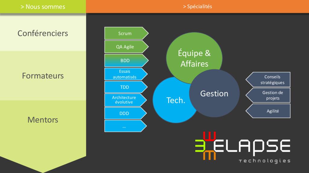 Conférenciers Formateurs Mentors Tech. Équipe &...