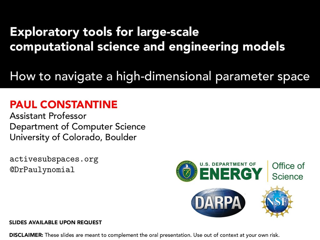 Exploratory tools for large-scale computational...