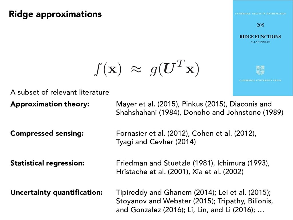 Ridge approximations A subset of relevant liter...