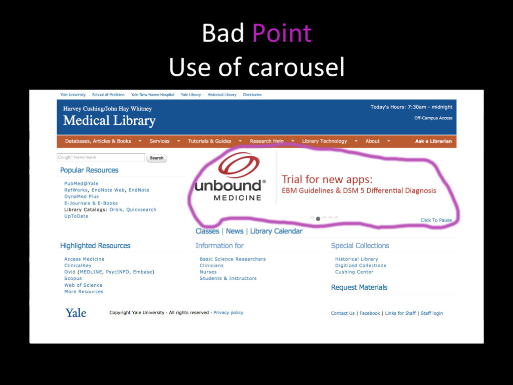 Bad Point Use of carousel