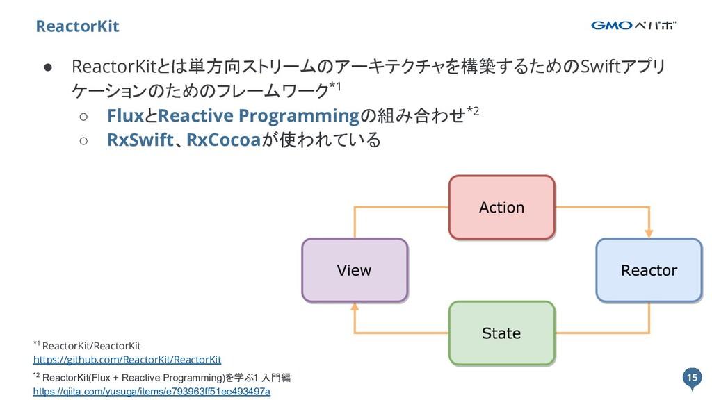 15 ● ReactorKitとは単方向ストリームのアーキテクチャを構築するためのSwiftア...