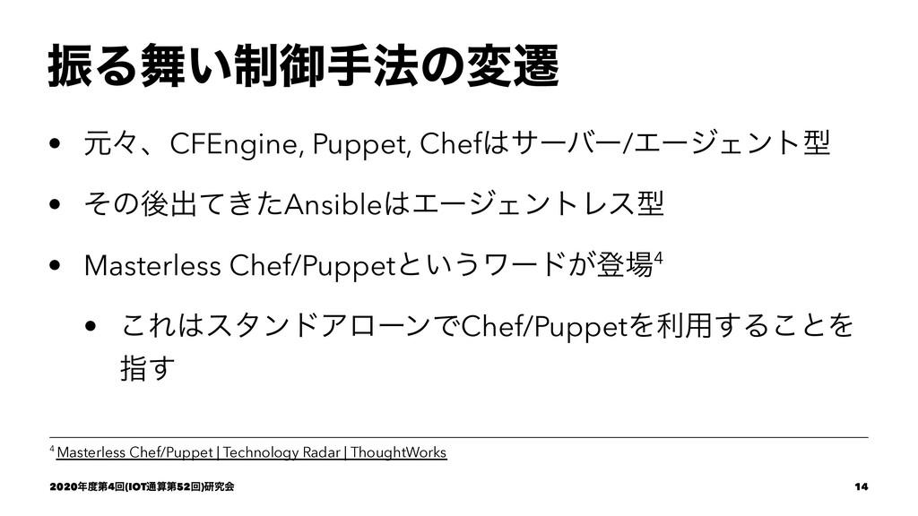 ৼΔ੍͍ޚख๏ͷมભ • ݩʑɺCFEngine, Puppet, Chefαʔόʔ/Τʔ...