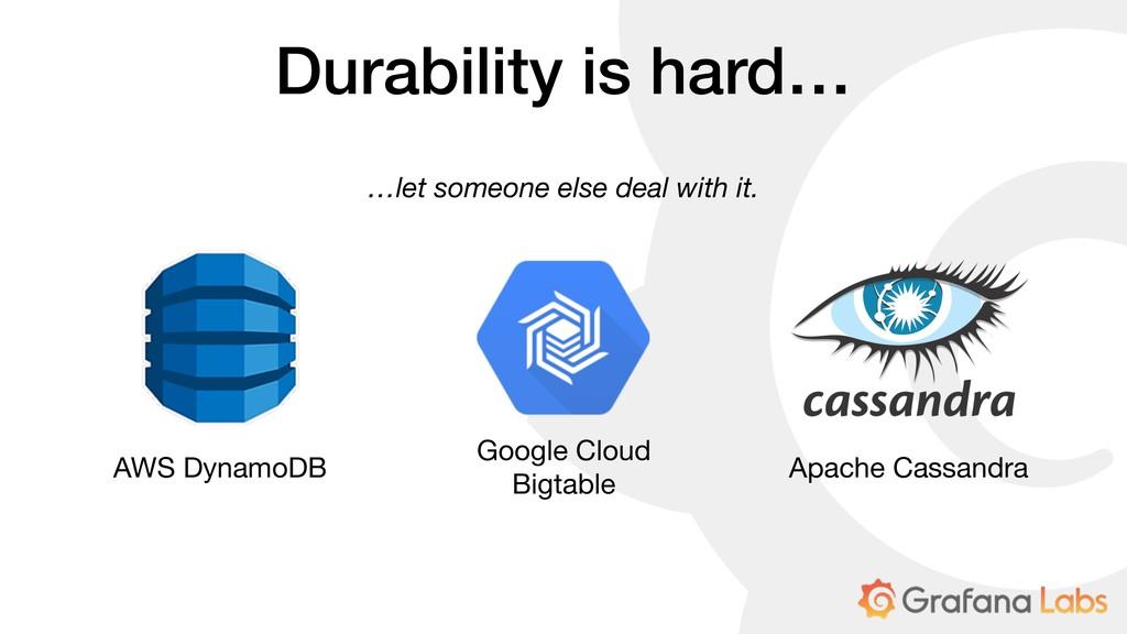 Durability is hard… AWS DynamoDB Google Cloud  ...