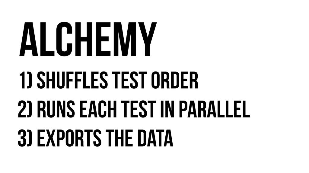 1) Shuffles test order 2) Runs Each test in par...