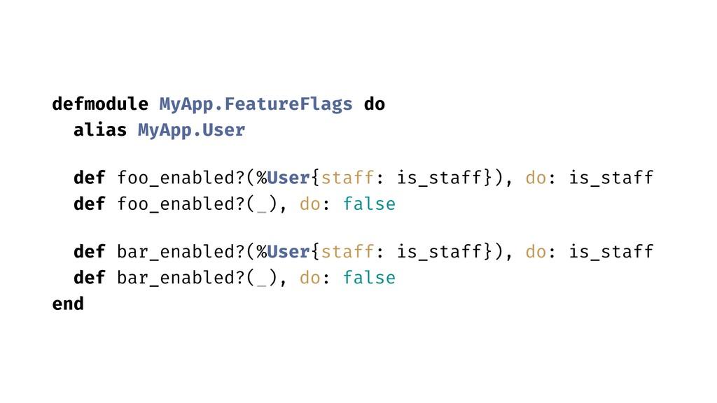 defmodule MyApp.FeatureFlags do alias MyApp.Use...