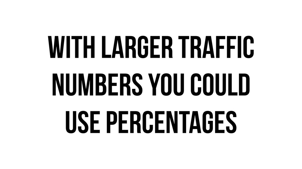 With larger Traffic numbers you could use perce...