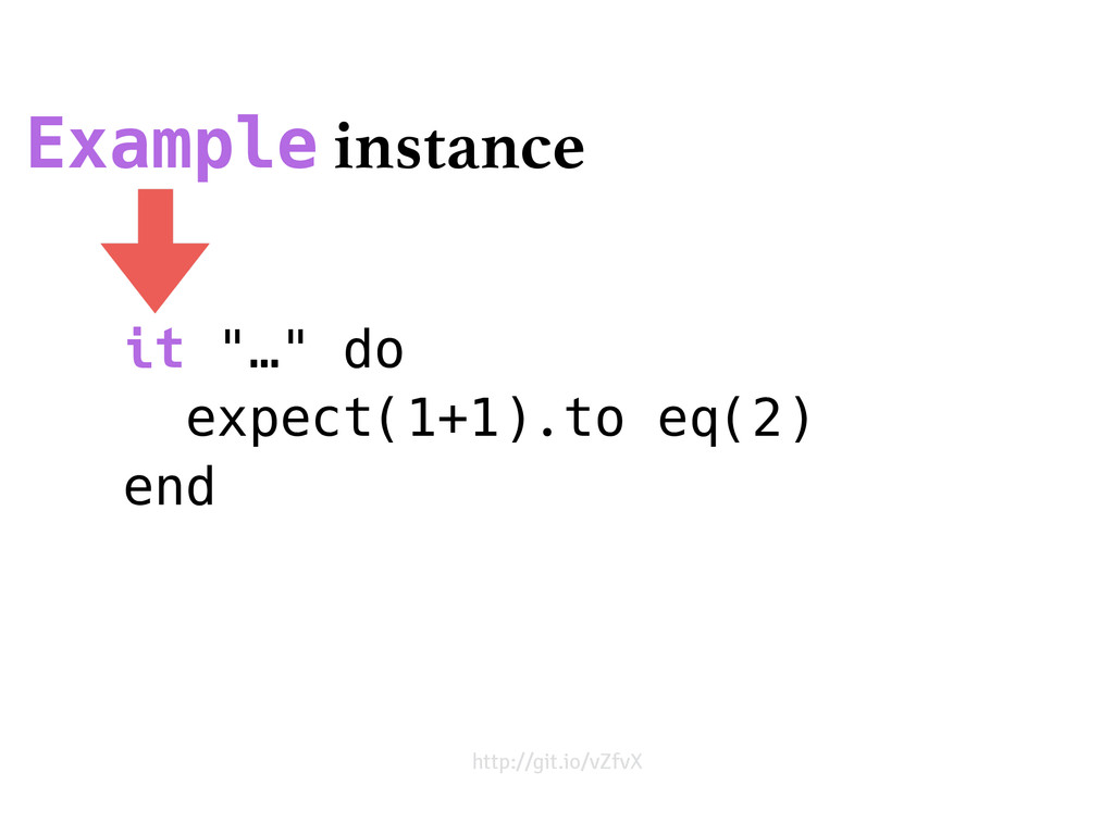 "it ""…"" do expect(1+1).to eq(2) end Example inst..."