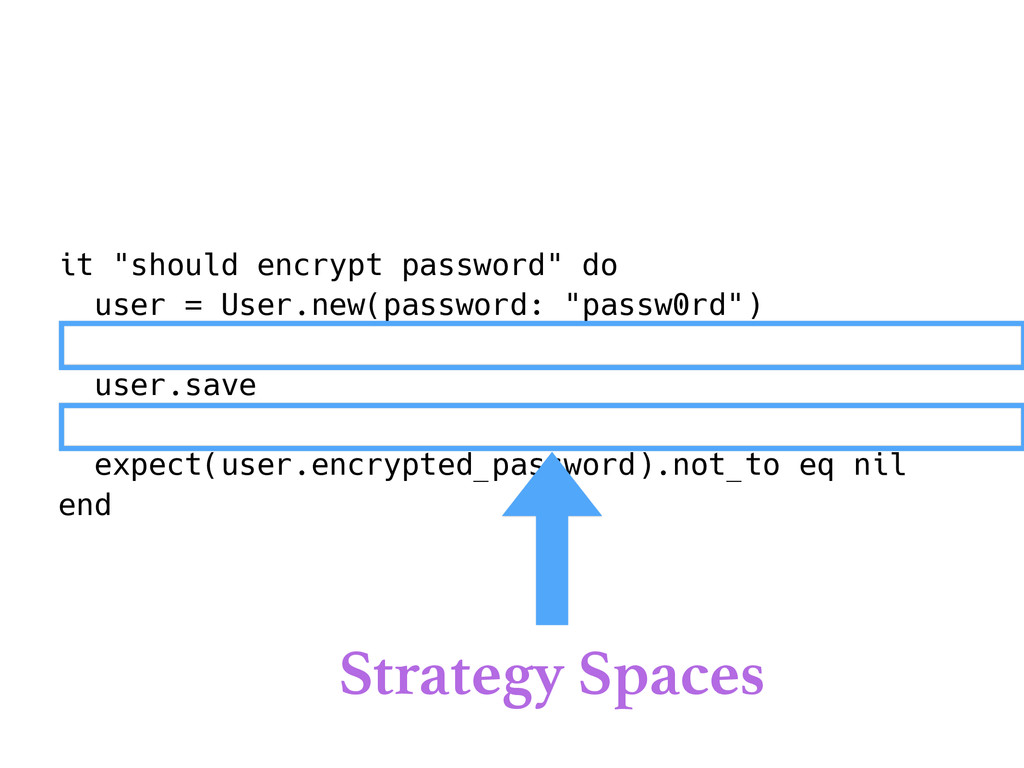 "it ""should encrypt password"" do user = User.new..."