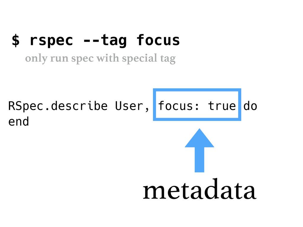 RSpec.describe User, focus: true do end metadat...