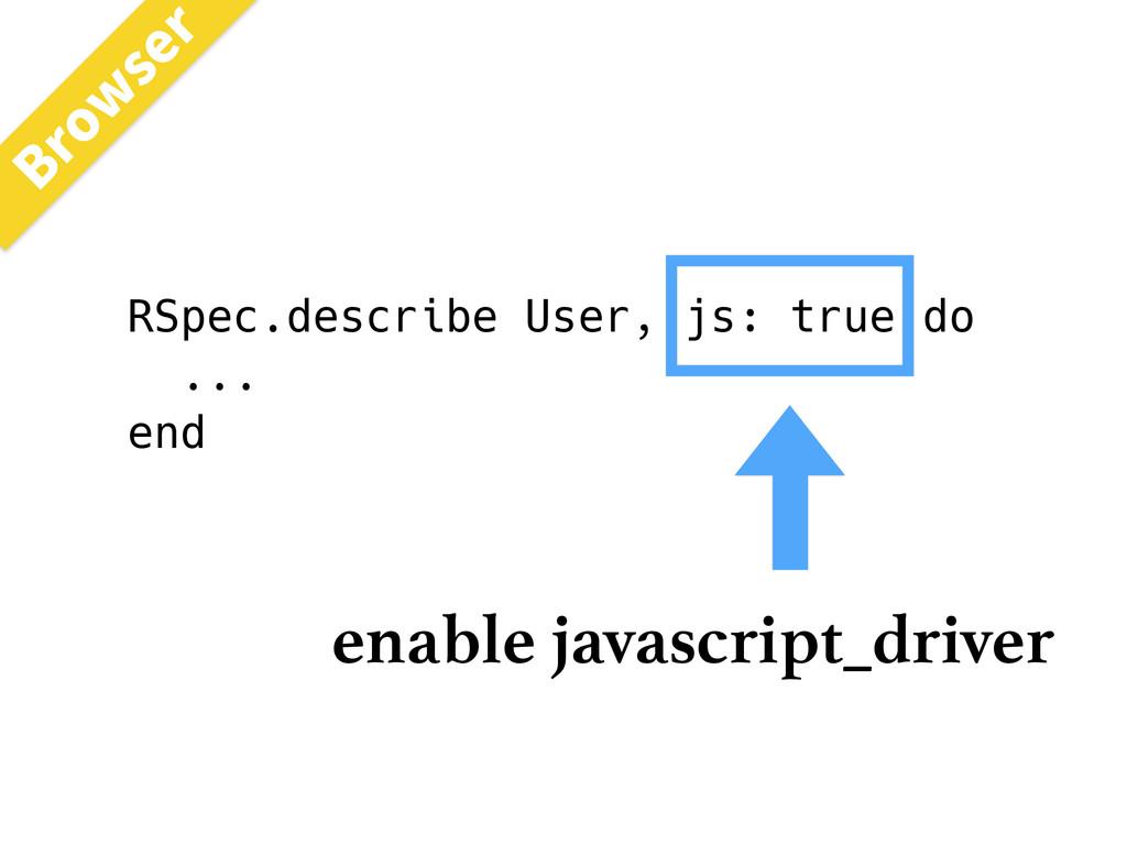 RSpec.describe User, js: true do ... end enable...