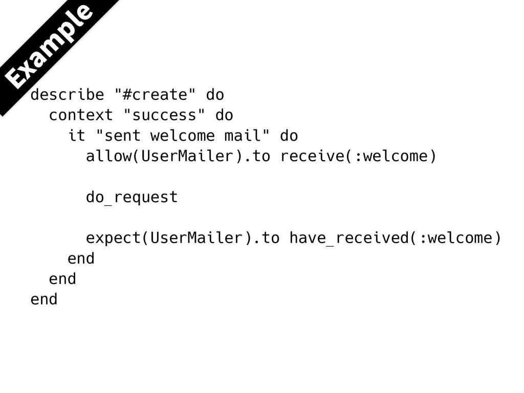 """describe """"#create"""" do context """"success"""" do it """"..."""