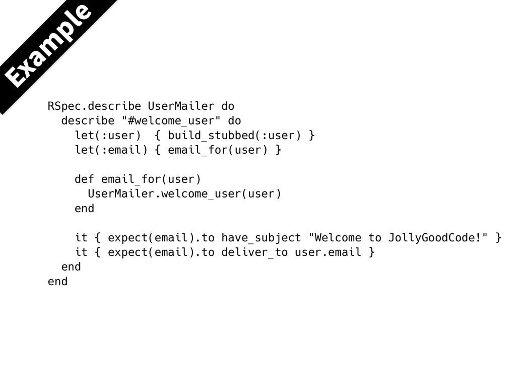 """RSpec.describe UserMailer do describe """"#welcome..."""