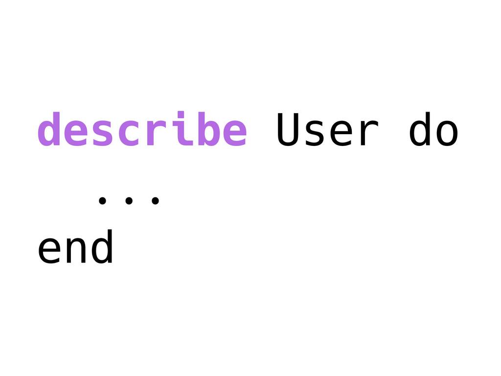 describe User do ... end