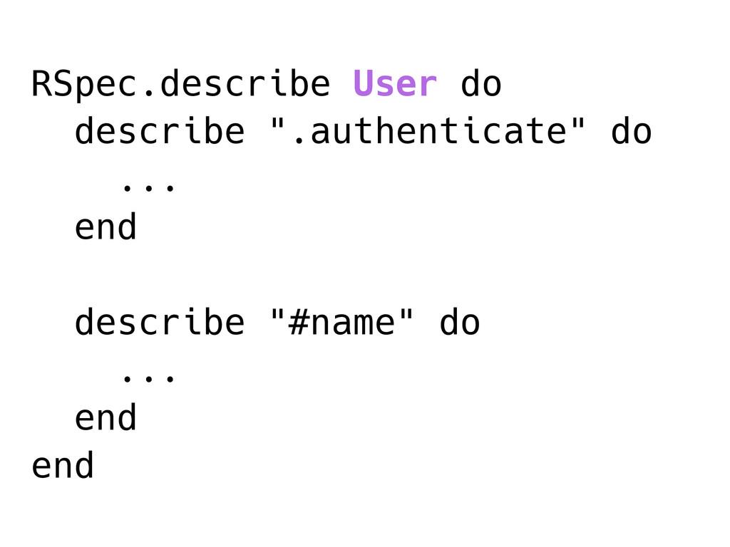 """RSpec.describe User do describe """".authenticate""""..."""