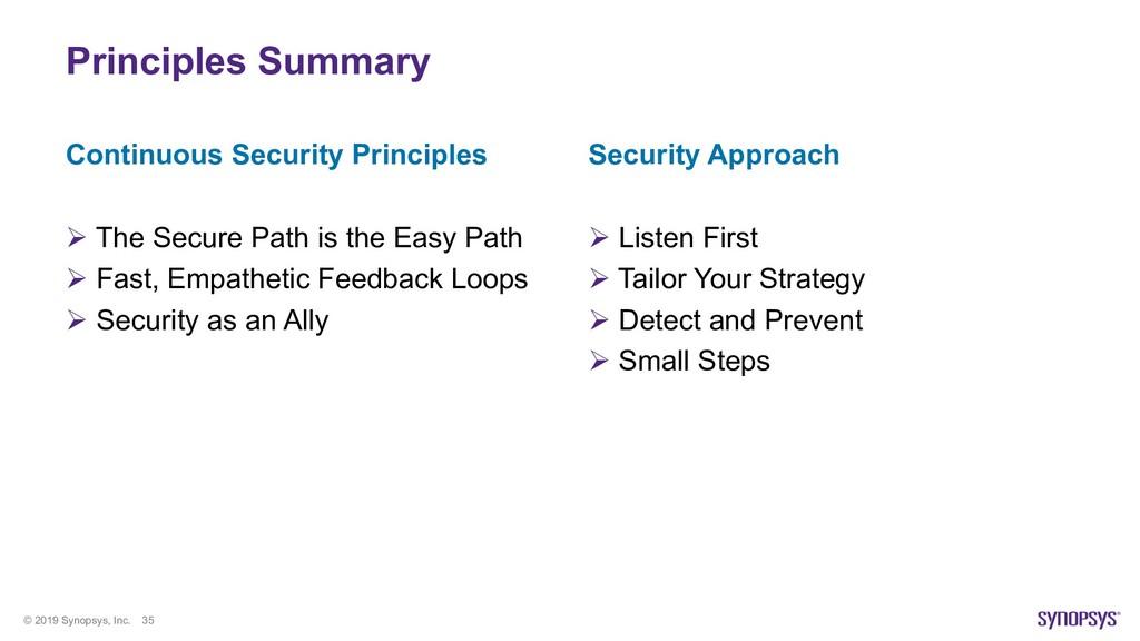 © 2019 Synopsys, Inc. 35 Principles Summary Con...