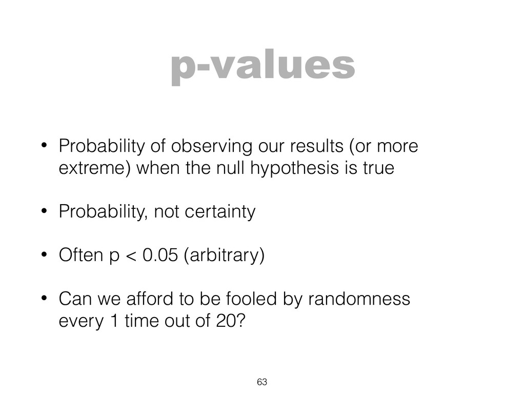p-values • Probability of observing our results...