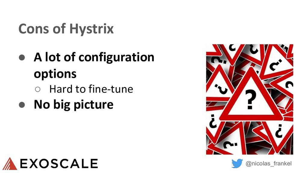 @nicolas_frankel Cons of Hystrix ● A lot of con...
