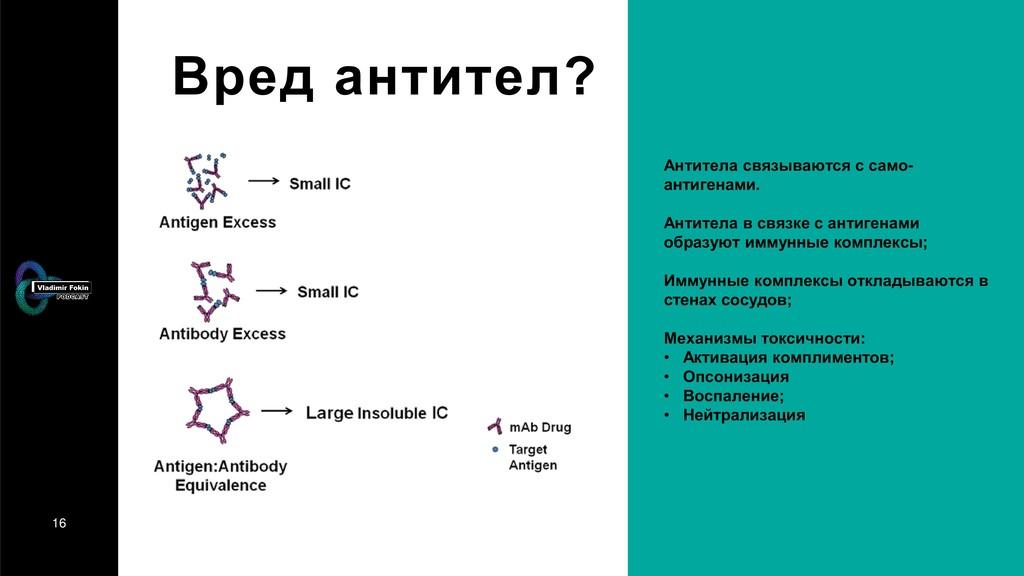 16 Вред антител? Антитела связываются с само- а...