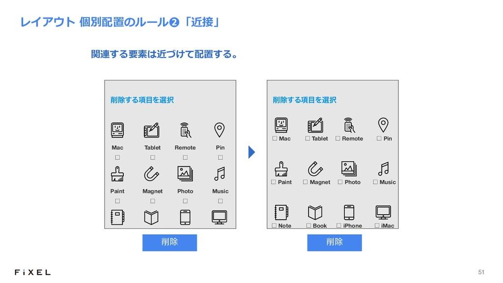 51 レイアウト 個別配置のルール❷「近接」 ˘ Mac ˘ Tablet ˘ Paint ˘...