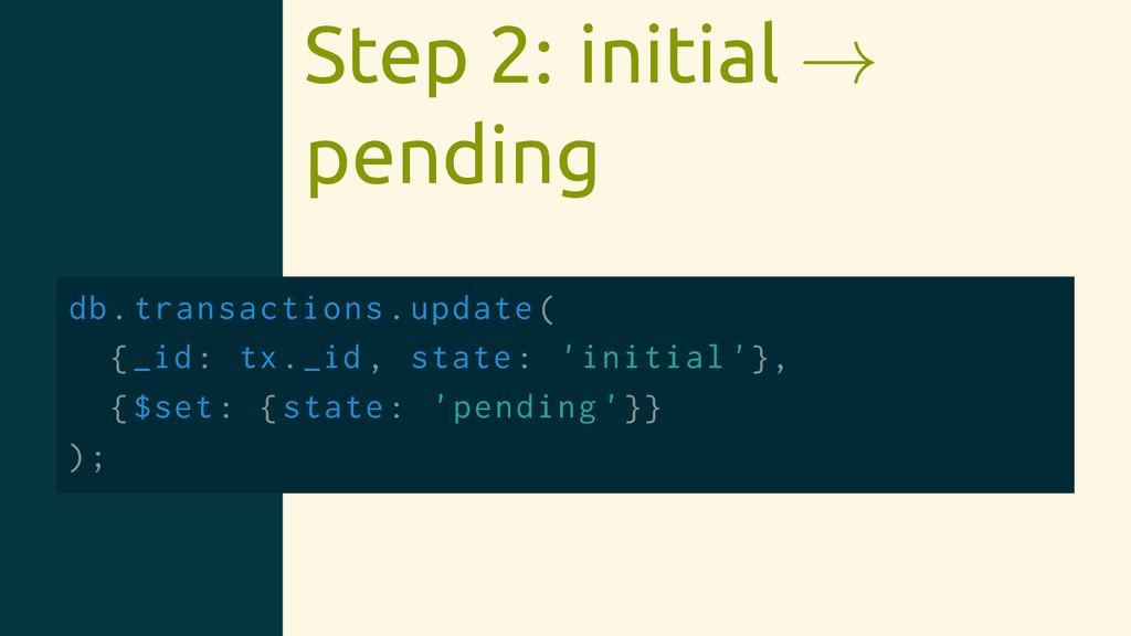 Step 2: initial → pending db.transactions.updat...
