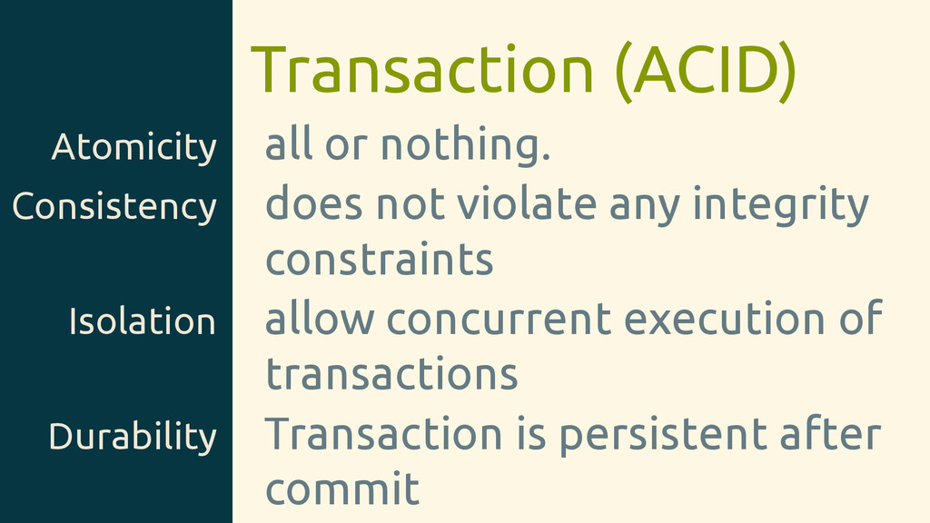 Transaction (ACID) Atomicity all or nothing. Co...