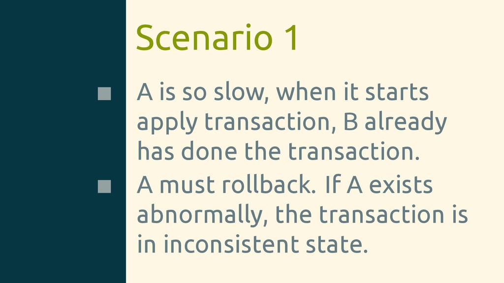 Scenario 1 A is so slow, when it starts apply t...