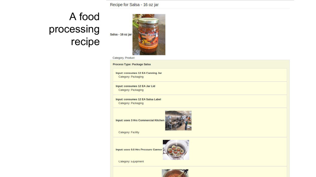 A food processing recipe