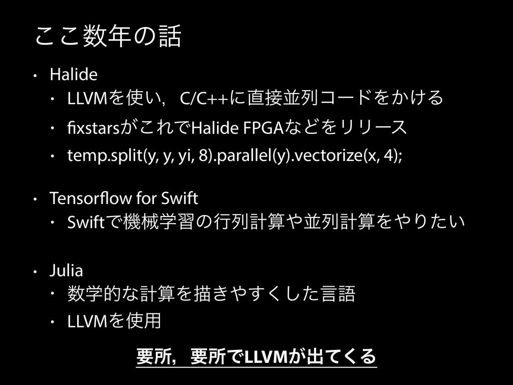 ͜͜ͷ • Halide • LLVMΛ͍ɼC/C++ʹฒྻίʔυΛ͔͚Δ • f...