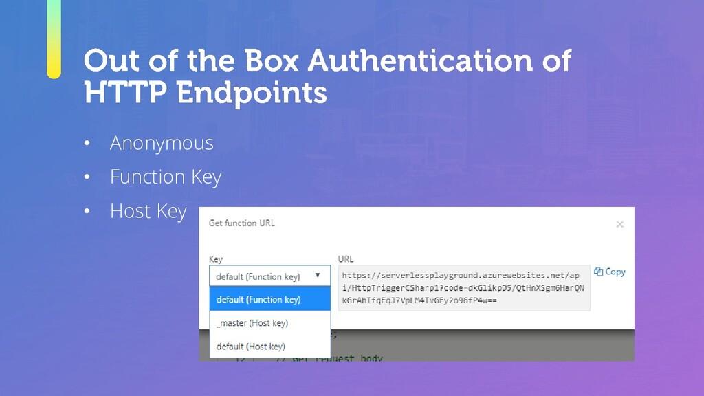 • Anonymous • Function Key • Host Key