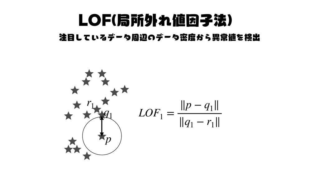 LOF し て い る デ ー タ の デ ー タ か ら 形 を LOF1 = ∥p − q...