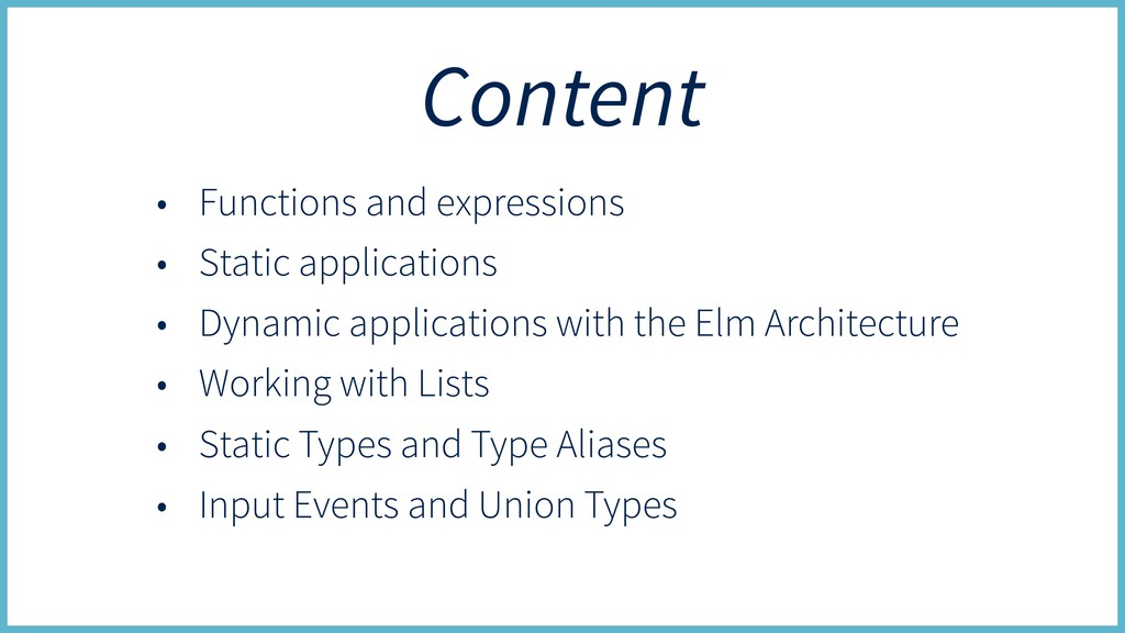Content • Functions and expressions • Static ap...