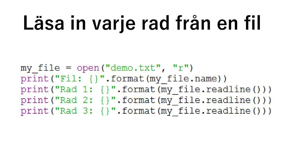 Läsa in varje rad från en fil