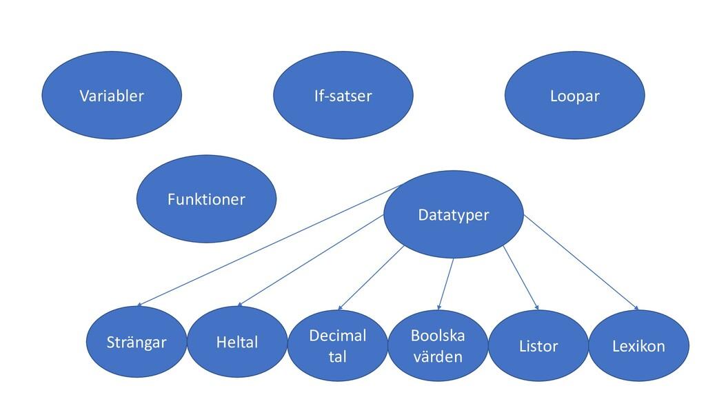 Variabler If-satser Loopar Funktioner Datatyper...