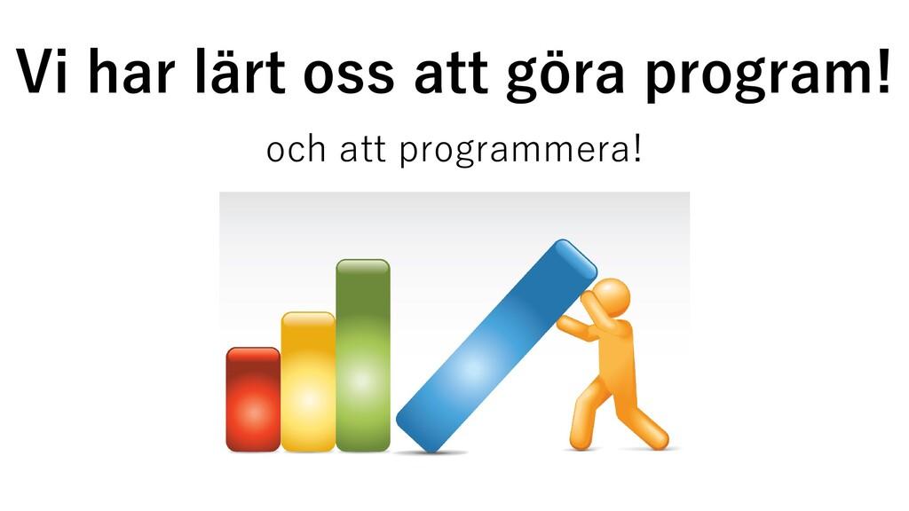 Vi har lärt oss att göra program! och att progr...