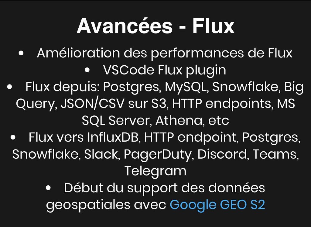 Avancées - Flux Avancées - Flux Amélioration de...