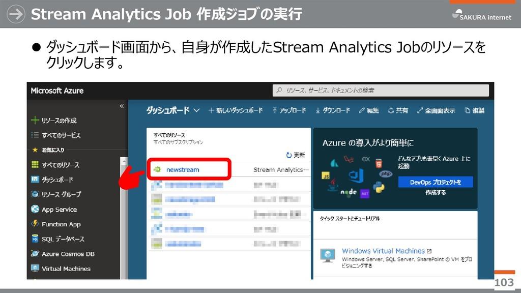 Stream Analytics Job 作成ジョブの実行 ⚫ ダッシュボード画面から、自身が...